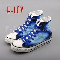 E-LOV הגעה חדשה יד ציור חלום מבוגרים לשני המינים דירות נעליים מזדמנים נעלי בד נשים נעלי בד צבוע גרפיטי