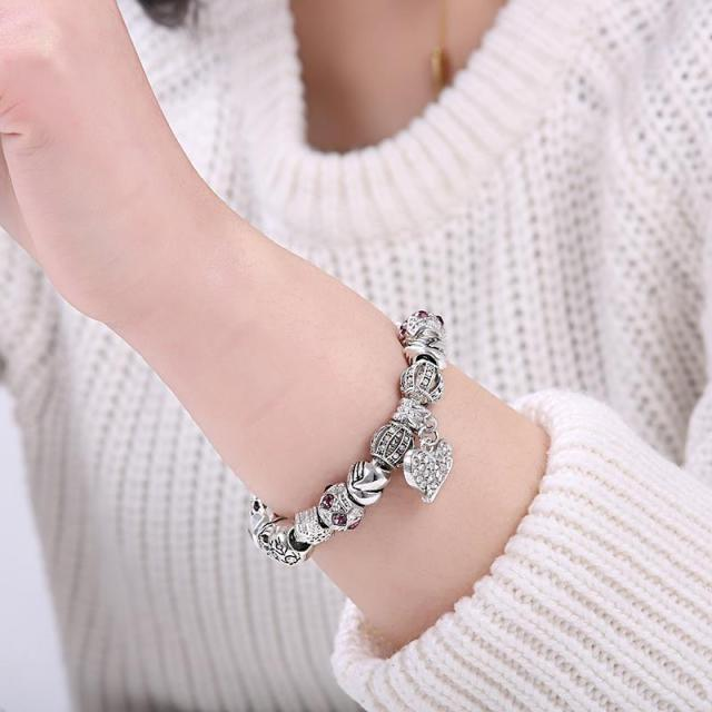 ELESHE Luxury Brand Women Bracelet 925 Unique Silver Crystal Charm Bracelet for Women DIY Beads Bracelets & Bangles Jewelry Gift 4