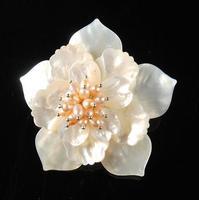 Wholesale Handwork Jewellery,Wedding Birthday Party Women Gift Brooch,White Shell Pink Pearl Flower Pin Brooch Pendant FN9449