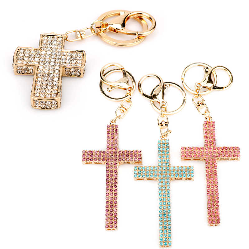 Fashion Crystal Cross Sleutelhanger Religieuze Christian Jesus Steentjes Cross Sleutelhanger Vrouwen Gebed God Bless Gift Souvenir Sleutelhanger