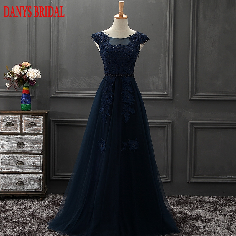 Navy Blue Lace Mother of the Bride Dresses Gowns for Weddings Bridal Formal Godmother Groom Long Dresses