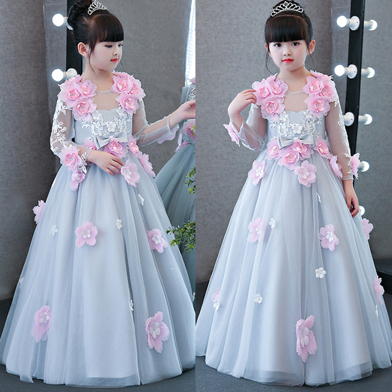 New High Quality Children Girls Luxury Elegant Long Princess Birthday Wedding Formal Party Dress Kids Flowers Ball Gown Dress