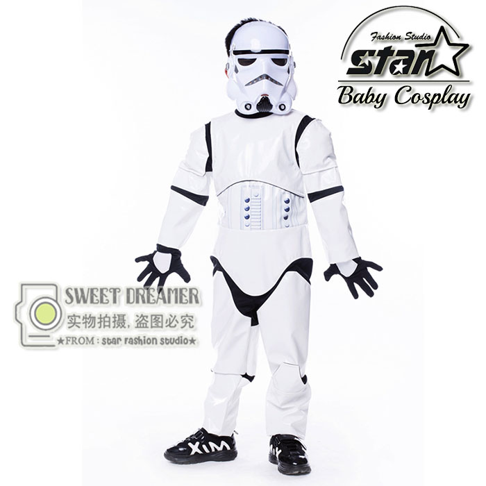 Kids Birthday Halloween Party Gift New Child Boy Deluxe Star Wars The Force Awakens Storm Troopers Cosplay Fancy Dress Kids Hall tetris party deluxe