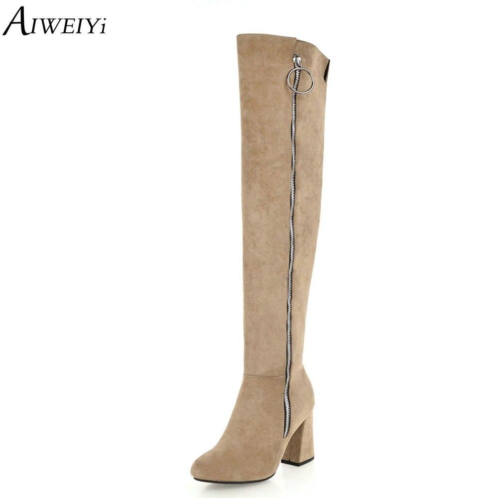 AIWEIYi femmes bottes hiver sur le genou bottes longues chaussures de mode qualité daim confort carré talons hauts
