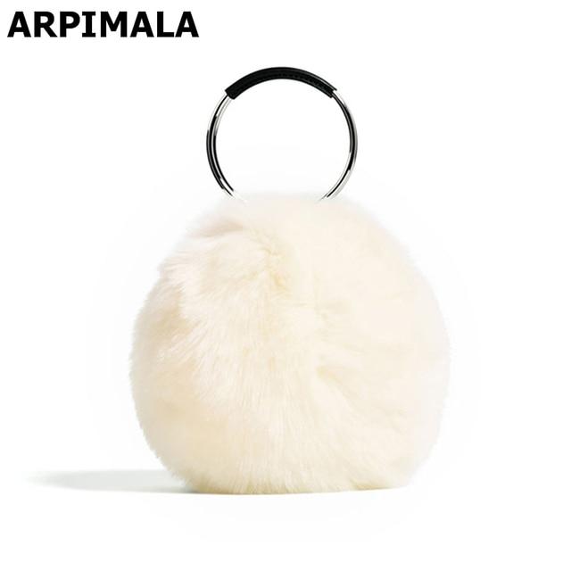 9d76f09e213 ARPIMALA 2018 Women Faux Fur Handbags Luxury Designer Evening Bag Famous Brand  Fur Clutch Bag Circle Party Bag Ladies Hand Bags