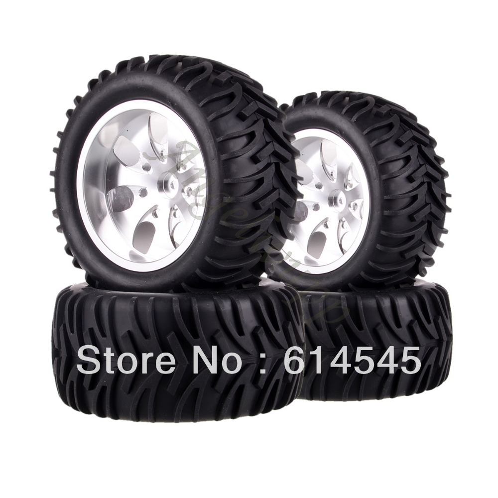 4xRC Monster Truck Bigfoot Metal 1:10 Wheel Rim & Tyre Tires 12MM HEX 88114 4pcs lot 2 2 rubber tires tyre plastic wheel rim 12mm hex for redcat exceed hpi hsp rc 1 10th off road monster truck bigfoot