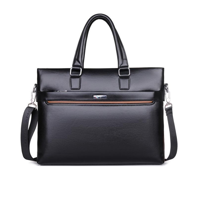 все цены на 2018 Man Handbags PU Leather Business Casual Single Shoulder Bag Money Bag Messenger Bag Men File Briefcase Tote Item Organizer онлайн