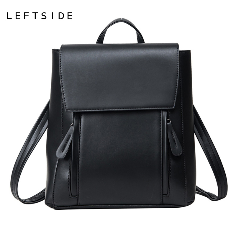 LEFTSIDE Feminine Backpack Women Backpacks Solid Vintage Girls School Bags for Girls  PU Leather Women Backpack schoolbags leftside women backpack casual pu leather ladies feminine backpacks for teenage girls school bag bagpack black schoolbag