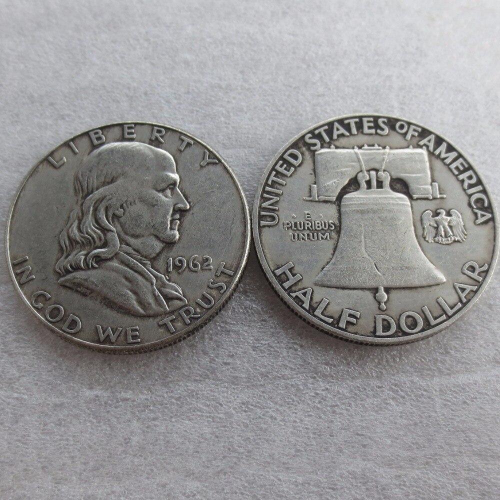 90% серебра или посеребренные 1962 P D Франклин серебро полдоллара высокое качество