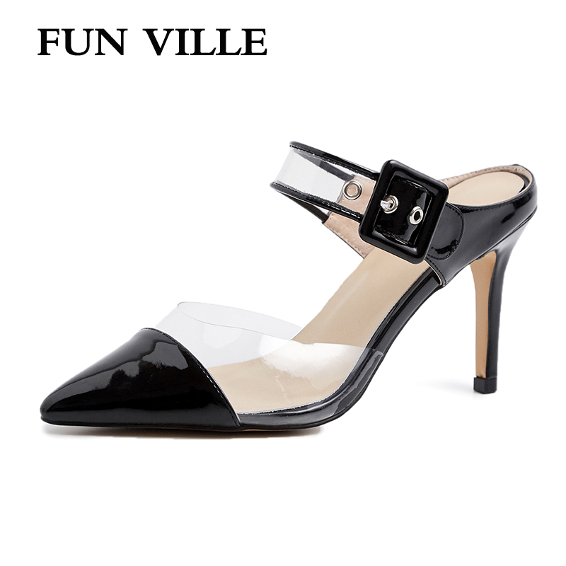 FUN VILLE New Fashion transparent Summer Women Slippers Patent Leather High Heels Shoes sexy ladies shoes