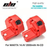 ELEOPTION 2PCS NEW 14.4 Volt 2000mAh NI CD Power Tool Battery for MAKITA 14.4V Battery for Makita 1422,1420,192600 1, 194172 2
