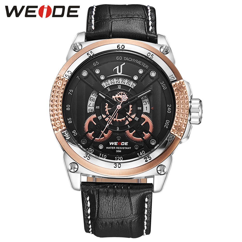 WEIDE Fashion Casual Auto Date Watch Men Quartz Genuine Leather Strap Buckle Mens Watch Golden Clock Analog Calendar Wristwatch nary fashion watch leather strap men s watches quartz clock womens watch double calendar with date week lovers casual wristwatch