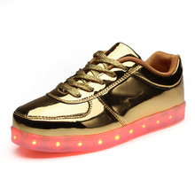Fashion Bright Solid USB Led Light Up Kid Shoes Breathable Hook &Loop Children Charging Luminous Sneakers For Girl And Boy 31-41