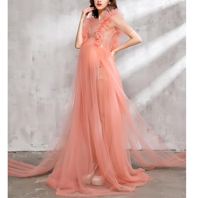 Fancy Plus Size Maternity Champagne Lace Maxi Dress Photography Props Pregnancy Picture Photoshoot Dress Studio Props Accessorie