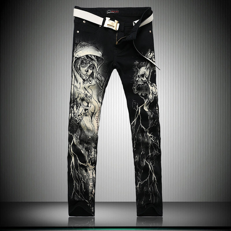ФОТО New 2017 Men`s Printed Jeans Punk Style Gothic Painted Cotton Straight Leg Cool Jeans For Young Men
