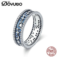 DOYUBO Vintage 925 Real Silver Blue Cubic Zircon Rings For Lady Star & Moon Pure Silver Women Wedding Rings Fine Jewelry AGB030