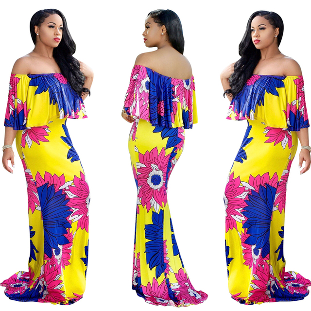 7c163fb9a85 US $33.07 |Multicolor Party Flounce Layered Neck Floral Print Off the  Shoulder Ruffle Short Sleeve Dress Summer Women maxi Dress-in Dresses from  ...