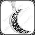 MJD8226 316L Stainless Steel Pet Urns Cremation Necklace HALF MOON keepsake ashes jewelry