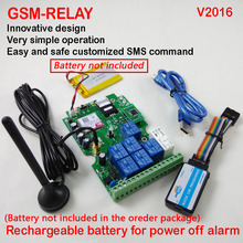 Free shipping Post airmail  1pcs Seven output gsm relay sms call remote controller Rechargeable battery for power off alarm app