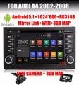7''Head Блок Стерео DVD GPS Плеер Для Audi A4 S4 Сиденья Exeo Quad Core Android 5.1 RK3188 Радио BT OBD DVR WIFI/3 Г 1024*600