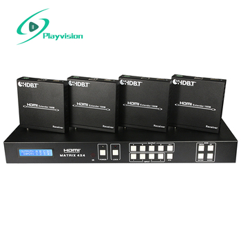 HDMI Matrix 4x4 HDBaseT transmi 100m with simultaneous CAT5e/6/7 and HDMI outputs connects four HDMI sources to eight displays