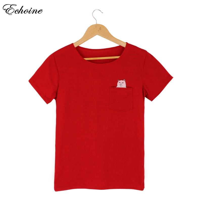 Echoine Women Colorful Punk Pocket Cat O Neck Short Sleeve T shirt Funny T shirts Female