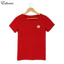 Echoine Women Colorful Punk Pocket Cat O-Neck Short Sleeve T-shirt Funny T shirts Female Top Tees Camisetas Mujer Plus Size 4xl