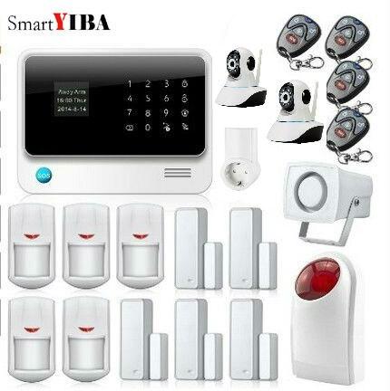 SmartYIBA WiFi GSM GPRS Офис видеонаблюдения сигнализации Системы приложение Управление Камера Smart Plug движения PIR инфракрасный Сенсор