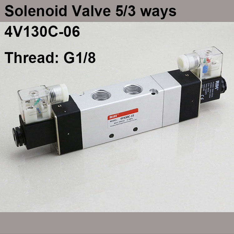 G1/8 4V130C-06 3 Position 5 Way Air Solenoid Valves Pneumatic Control Valve , DC12v DC24v AC 24V AC110v 220v