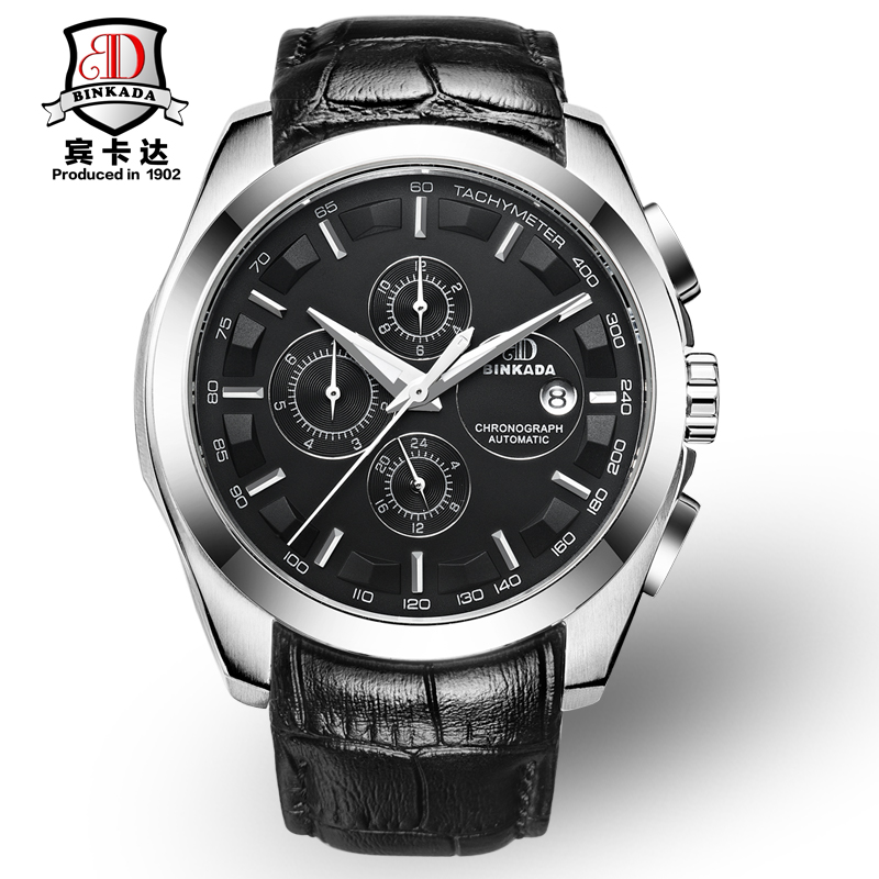 Luxury BINKADA Brand Men's Watch Automatic Mechanical Watches Genuine Leather Waterproof Male Casual Business Wrist Watch Clocks 630819 001 for hp pavillion dv3 laptop motherboard hm55 non integrated with ati graphics ddr3 tested