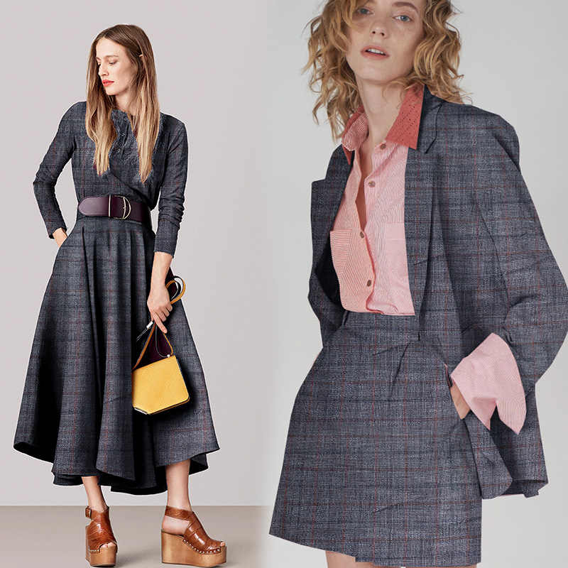 Pearlsilk cinza azul fio tingido xadrez lã de seda materiais de vestuário primavera terno diy roupas tecidos freeshipping