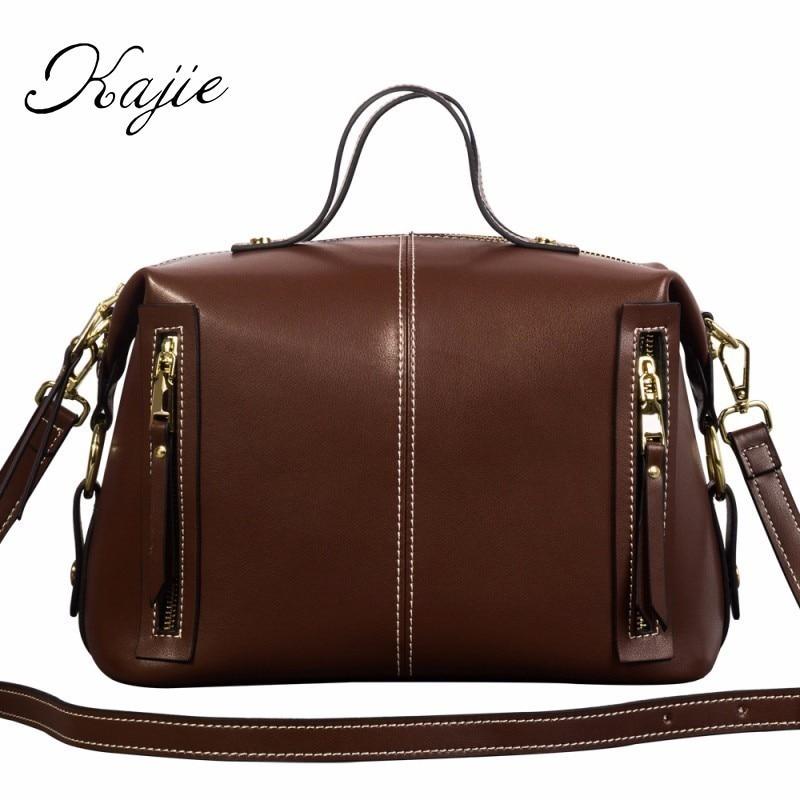Kajie 2018 Cowhide Genuine Leather Shoulder Bag Ladies 2018 Boston Luxury Bags Handbags Designer Fashion Women Famous Brands Bag