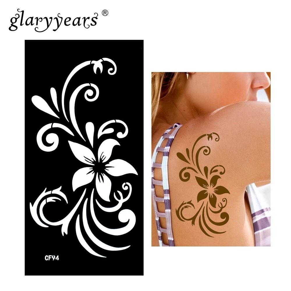 Glaryyears Henna Tattoo Stencil Beauty Flower Pattern Paste Drawing Lady Body Art Tattoo Stencil Waterproof Product High Quality