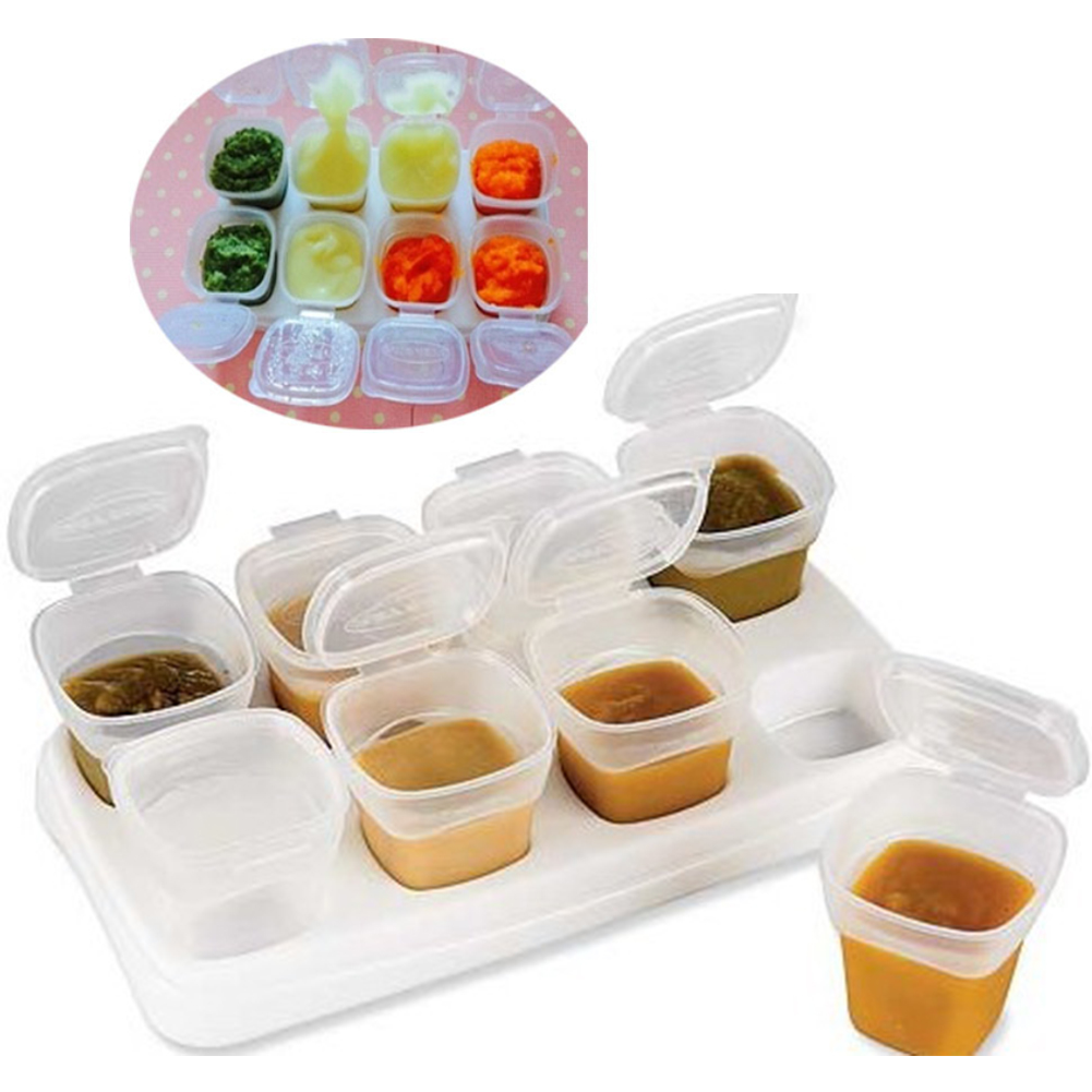 9pcs/Set Freezing Cube Microwave Baby Food Box Rice Infant 70ml Tool Childern Gruel Storage Containers Kids Weaning Feeding Pot