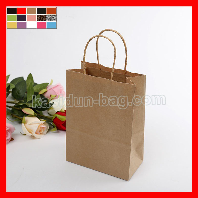 (100pcs/lot) Wholesale gift  kraft paper bags with handles