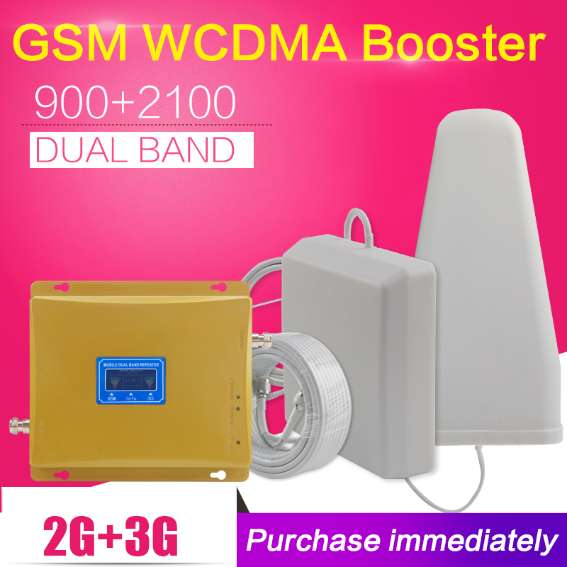 Repeatnet KW20L-GW LCD Display GSM 900 mhz WCDMA 2100 mhz Dual-Band-Signal Booster 3g Gsm Repeater 2100 Celular verstärker Antenne