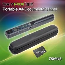 Бесплатная доставка!! жесткий Чехол + Skypix Tsn415 ручной Портативный A4 Документ Photo Scanner & 8 ГБ TF карты