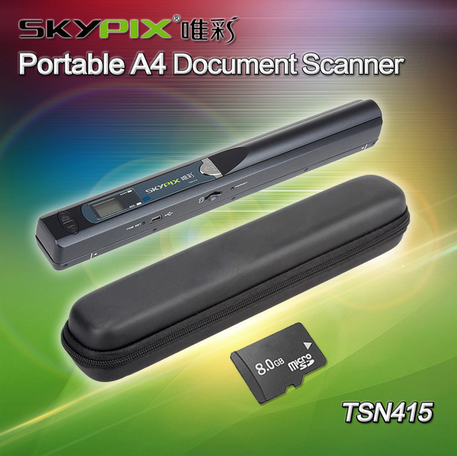 Free shipping!! Hard Carrying Case + Skypix TSN415 Handheld Portable A4 Document Photo Scanner&8GB TF card