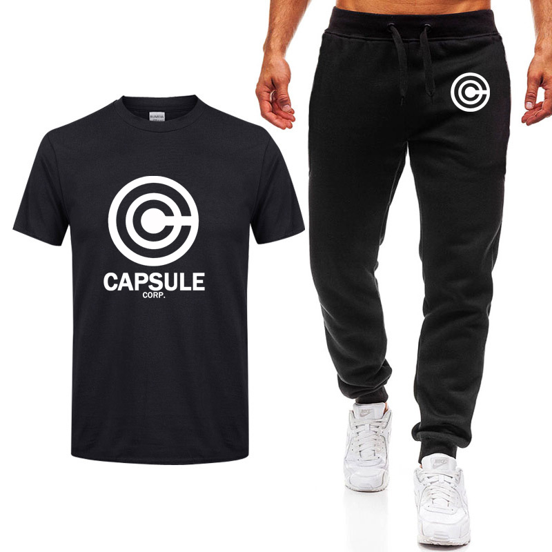 Anime The Dragon Ball Z Men T Shirt CAPSULE CORP. Logo Letter Printing Male Casual Saiyan Tops Short Sleeves T Shirts+pants Suit