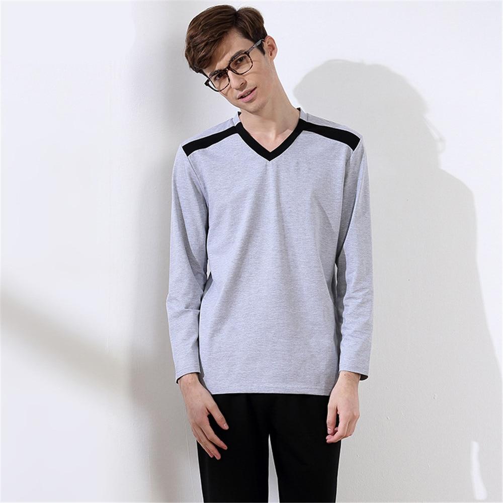2017 Men's Pajamas spring pijama masculino Long Sleeve Pure color pyjamas Set cotton Sleepwear Set mens knit pajamas Homewear