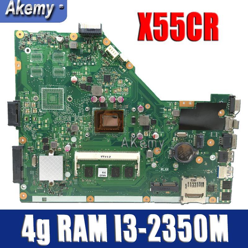 Carte mère d'ordinateur portable Amazoon X55CR pour ASUS X55CR X55VD X55V Teste carte mère d'origine 4g RAM I3-2350M