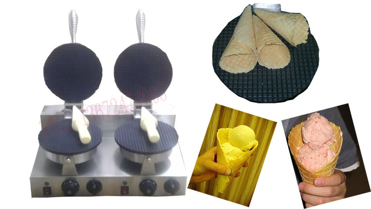 Free shipping~Electric double head  Ice cream cone maker, ice cream making machine square pan rolled fried ice cream making machine snack machinery
