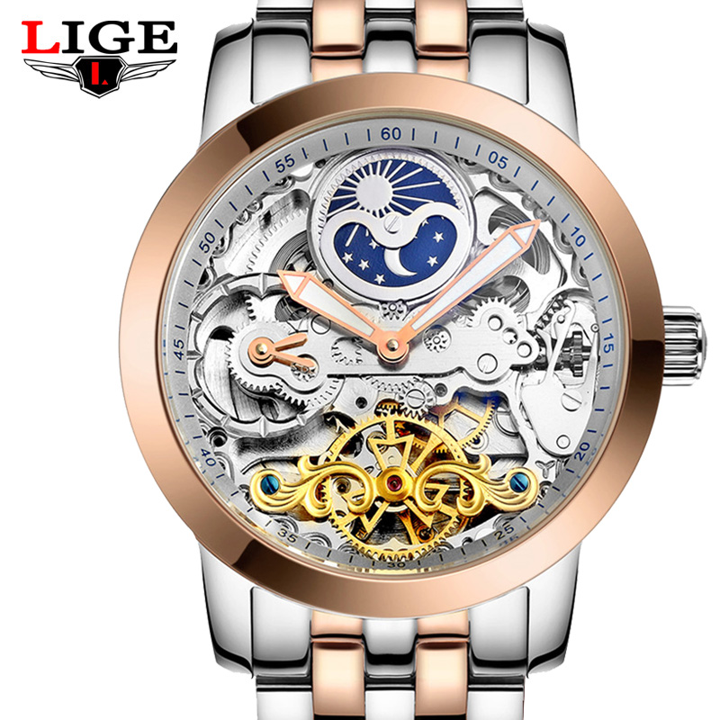 LIGE Mens Tourbillon Automatic mechanical Watches Men Top Brand Luxury Dive 50M Business full steel watch Man Clcok Reloj Hombre 2017 watch mens tourbillon automatic mechanical watches moon phases men top brand luxury business full steel clcok relojes