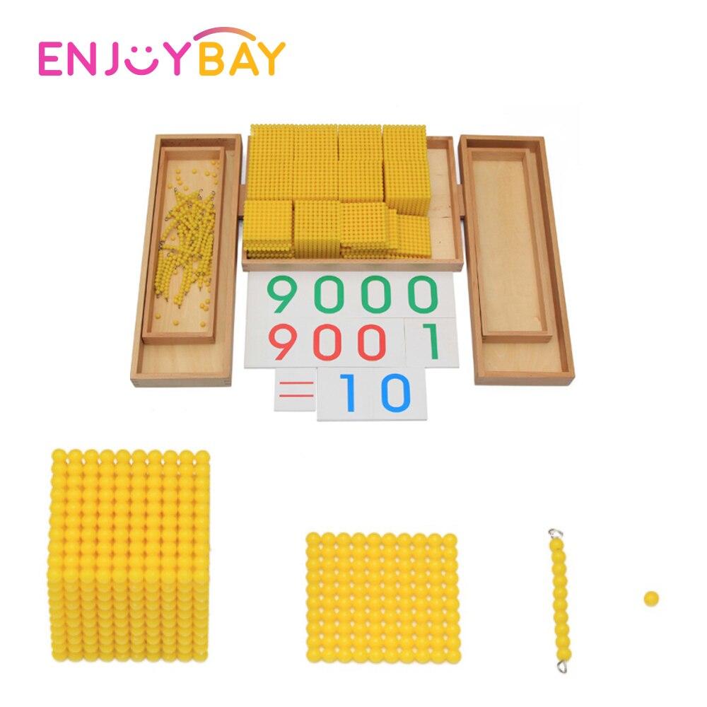 Enjoybay boîte en bois décimale Montessori jeu nombre comptage décimal enseignement jouet début d'apprentissage éducatif mathématiques jouet pour les enfants