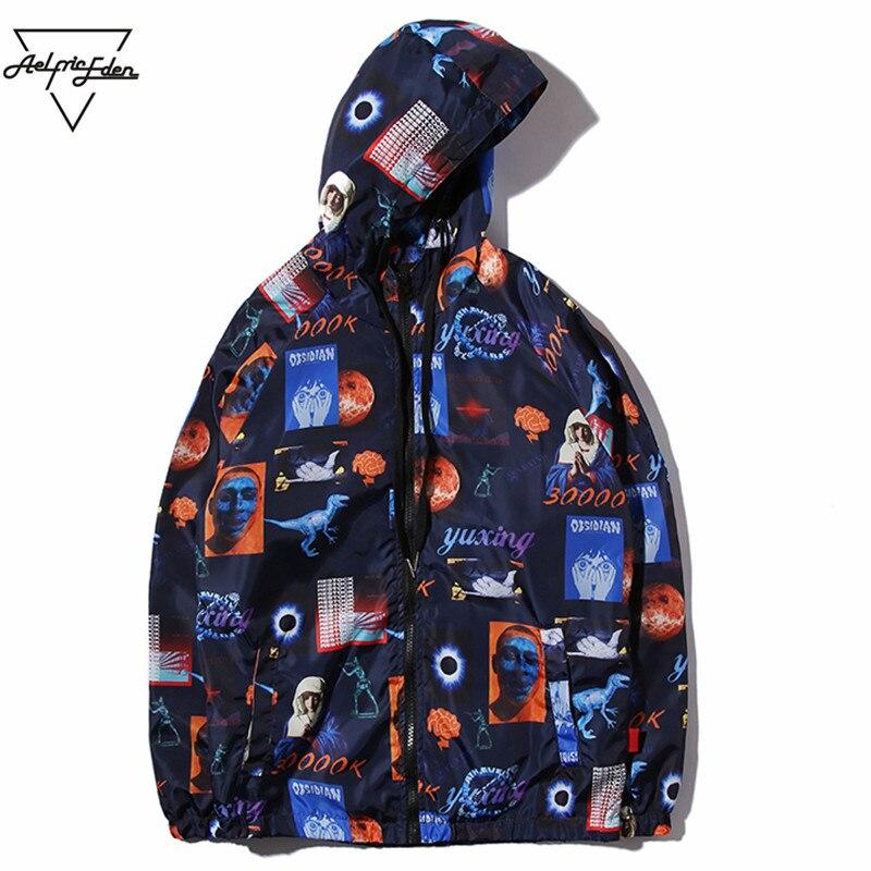 Aelfric Eden Hip Hop Streetwear Jacket Universe Era Print Men Windbreaker Track Jackets Virgin Mary Zipper Hoodie Outwear YE04