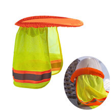 Yellow Orange Hat Outdoor Construction Safety Hard Hat Sun Shade Neck Shield Reflective Stripe Protective Helmets Shield#p8(China)