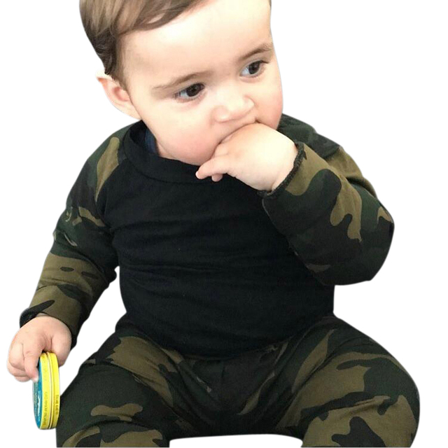 6a3567fd8 Army Camouflage Baby Girls Set Long Sleeve Tops Newborn Baby Suit Boys  Clothing Printed Sets Gift Suit Kids Clothes Set Infant