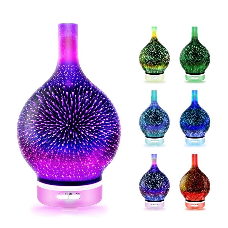 Fogos de Artifício GRTCO 3D Névoa Fria Umidificador De Ar Aroma de Vidro com Luz CONDUZIDA Da Noite Óleo Essencial Difusor Névoa Criador