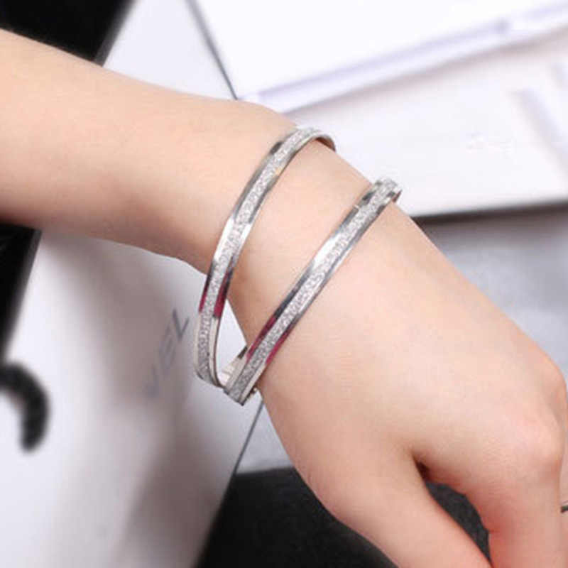 Simple Women Gold Silver Scrub Frosted Cuff Bracelet Round Hoop Circle Bangle Charming Women Fashion Hand Jewelry Accessories