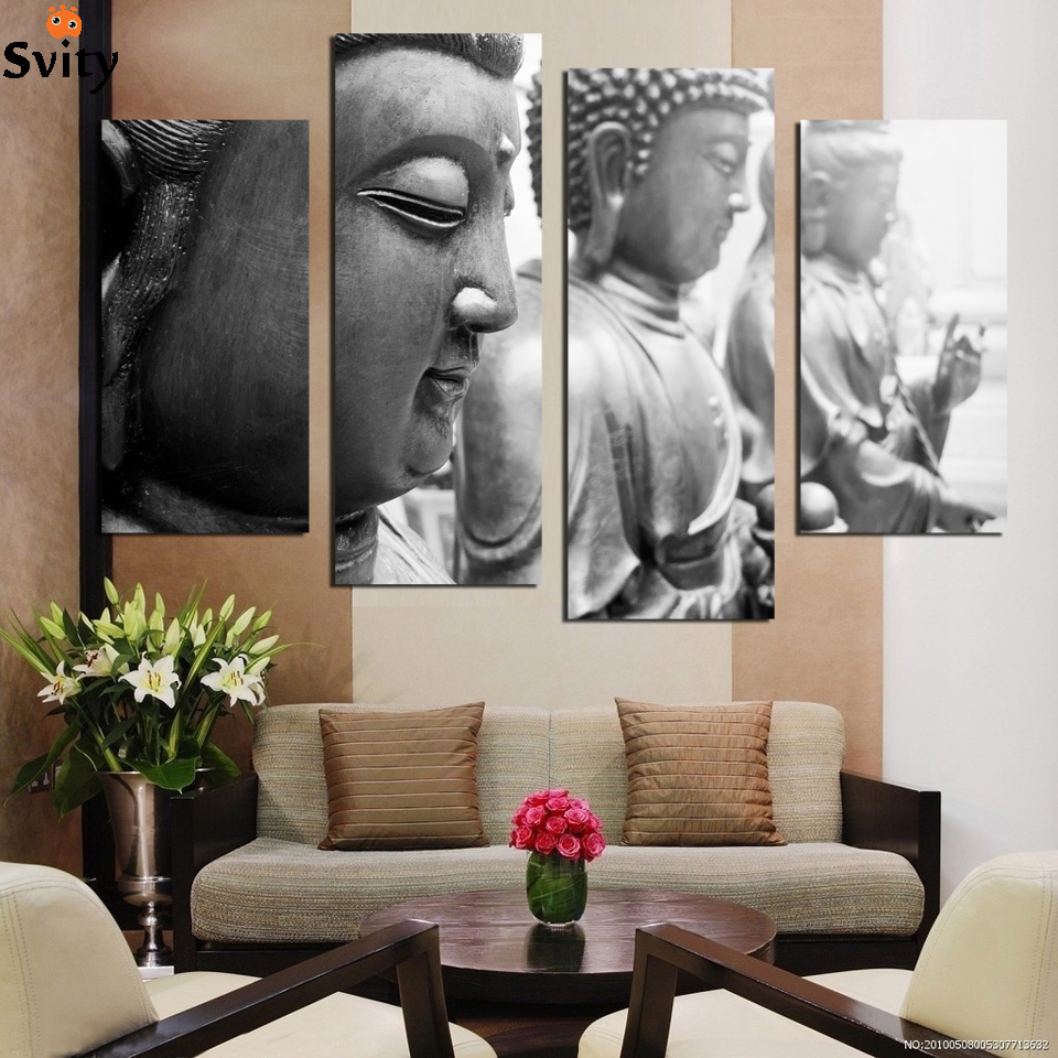4 Piece Buddha face canvas painting Home Decor Wall Art Picture for Living Room No Frame F1857